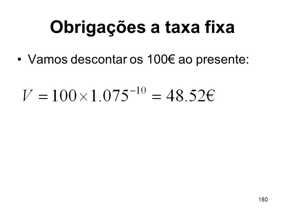 160 Obrigações a taxa fixa Vamos descontar os 100 ao presente: