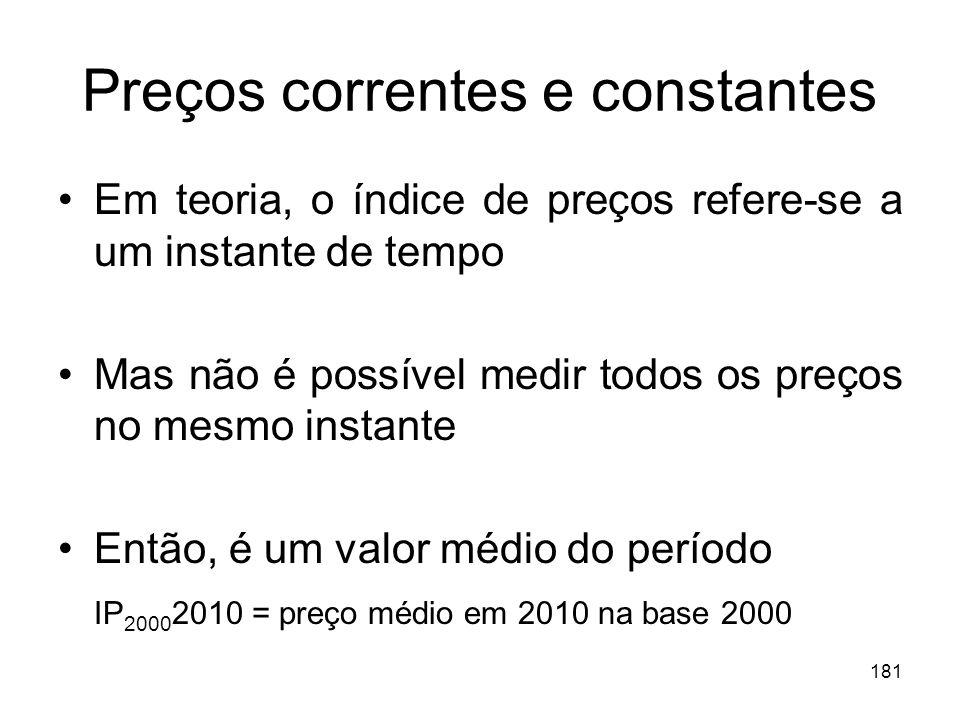 181 Preços correntes e constantes Em teoria, o índice de preços refere-se a um instante de tempo Mas não é possível medir todos os preços no mesmo ins