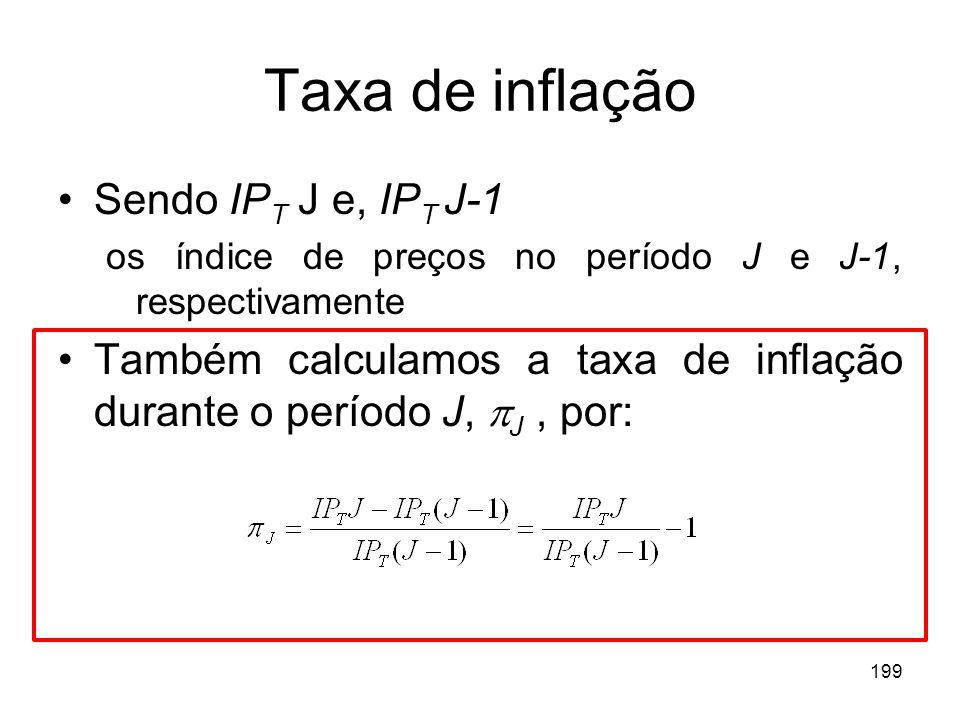 199 Taxa de inflação Sendo IP T J e, IP T J-1 os índice de preços no período J e J-1, respectivamente Também calculamos a taxa de inflação durante o p