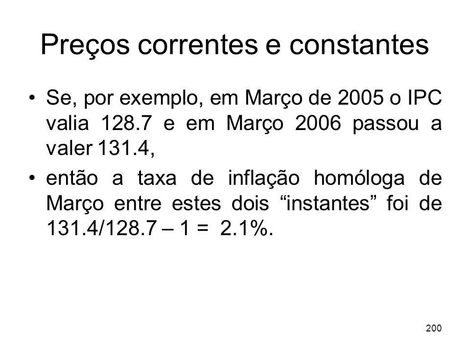 200 Preços correntes e constantes Se, por exemplo, em Março de 2005 o IPC valia 128.7 e em Março 2006 passou a valer 131.4, então a taxa de inflação h