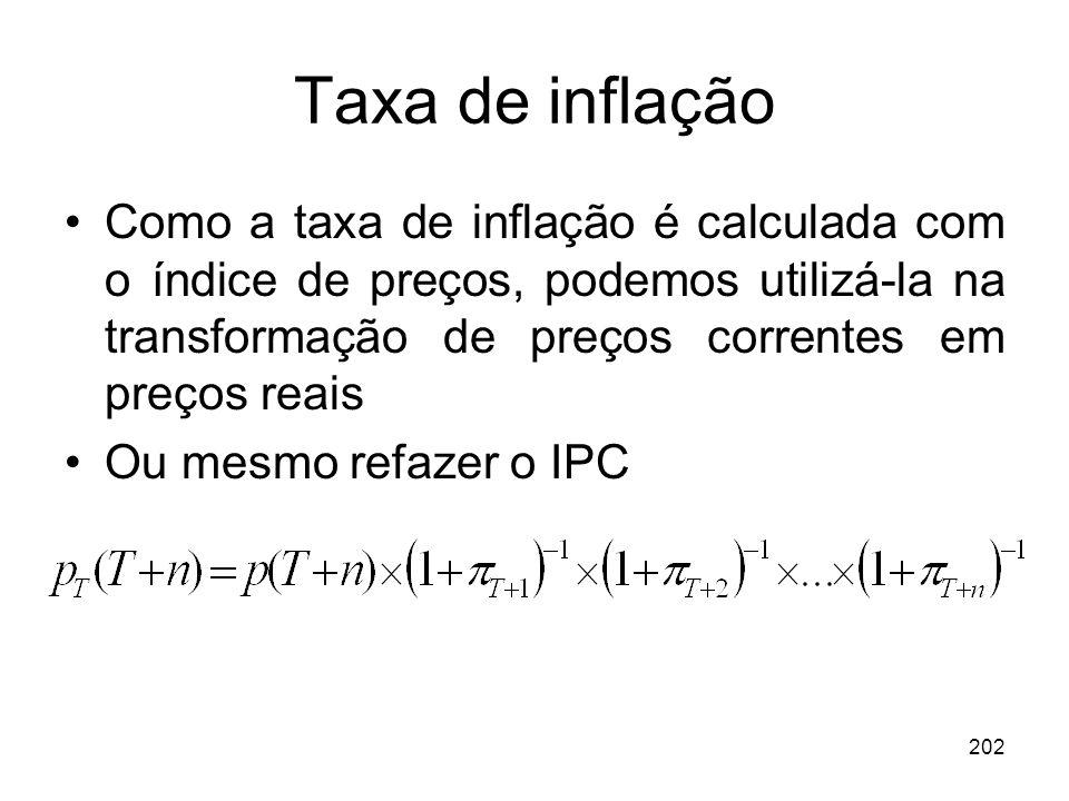 202 Taxa de inflação Como a taxa de inflação é calculada com o índice de preços, podemos utilizá-la na transformação de preços correntes em preços rea