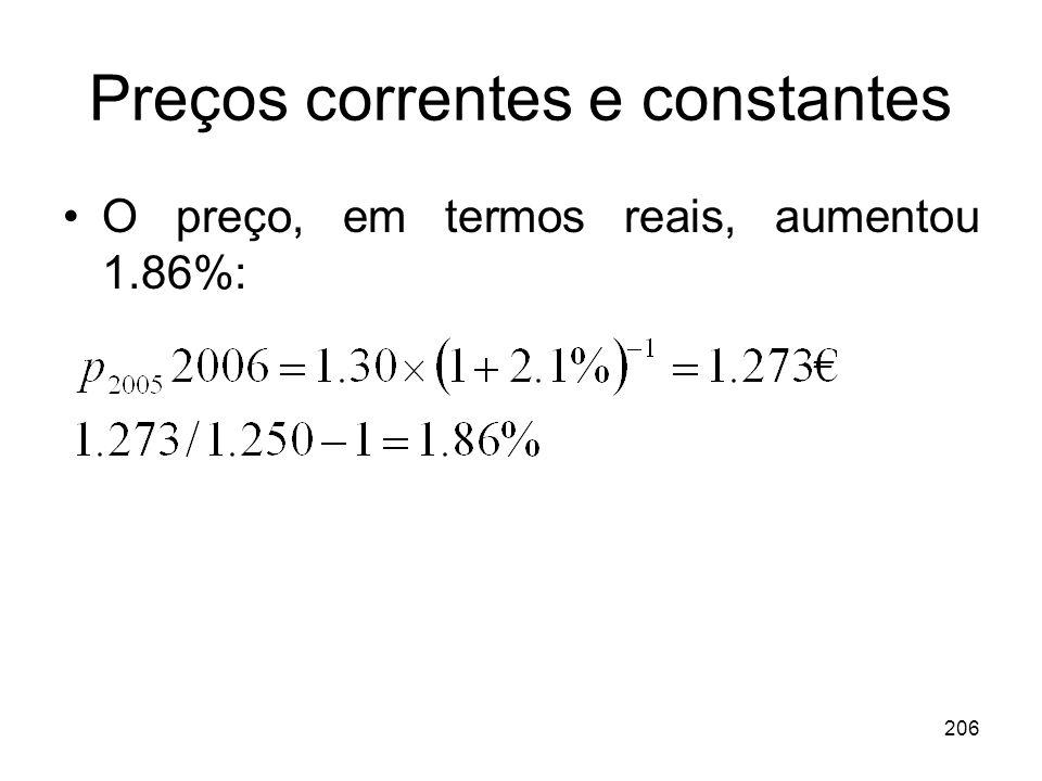 206 Preços correntes e constantes O preço, em termos reais, aumentou 1.86%: