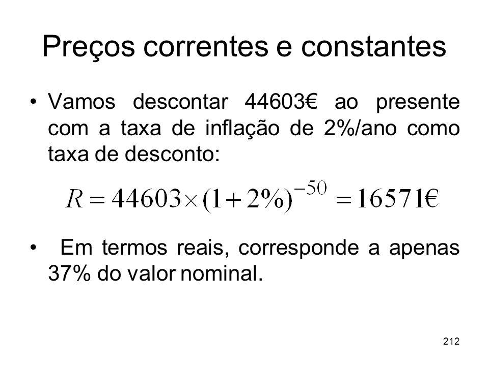 212 Preços correntes e constantes Vamos descontar 44603 ao presente com a taxa de inflação de 2%/ano como taxa de desconto: Em termos reais, correspon