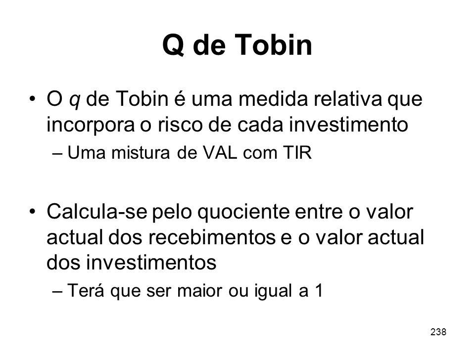 238 Q de Tobin O q de Tobin é uma medida relativa que incorpora o risco de cada investimento –Uma mistura de VAL com TIR Calcula-se pelo quociente ent