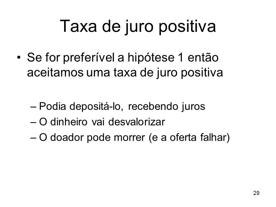 29 Taxa de juro positiva Se for preferível a hipótese 1 então aceitamos uma taxa de juro positiva –Podia depositá-lo, recebendo juros –O dinheiro vai