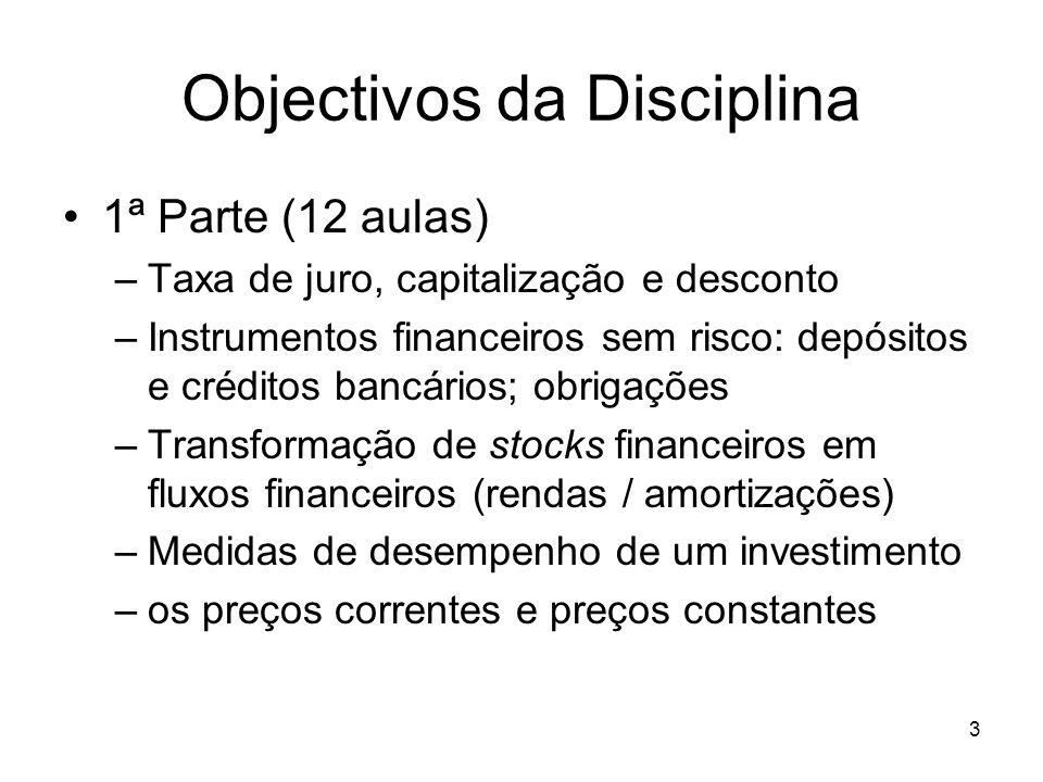 3 Objectivos da Disciplina 1ª Parte (12 aulas) –Taxa de juro, capitalização e desconto –Instrumentos financeiros sem risco: depósitos e créditos bancá