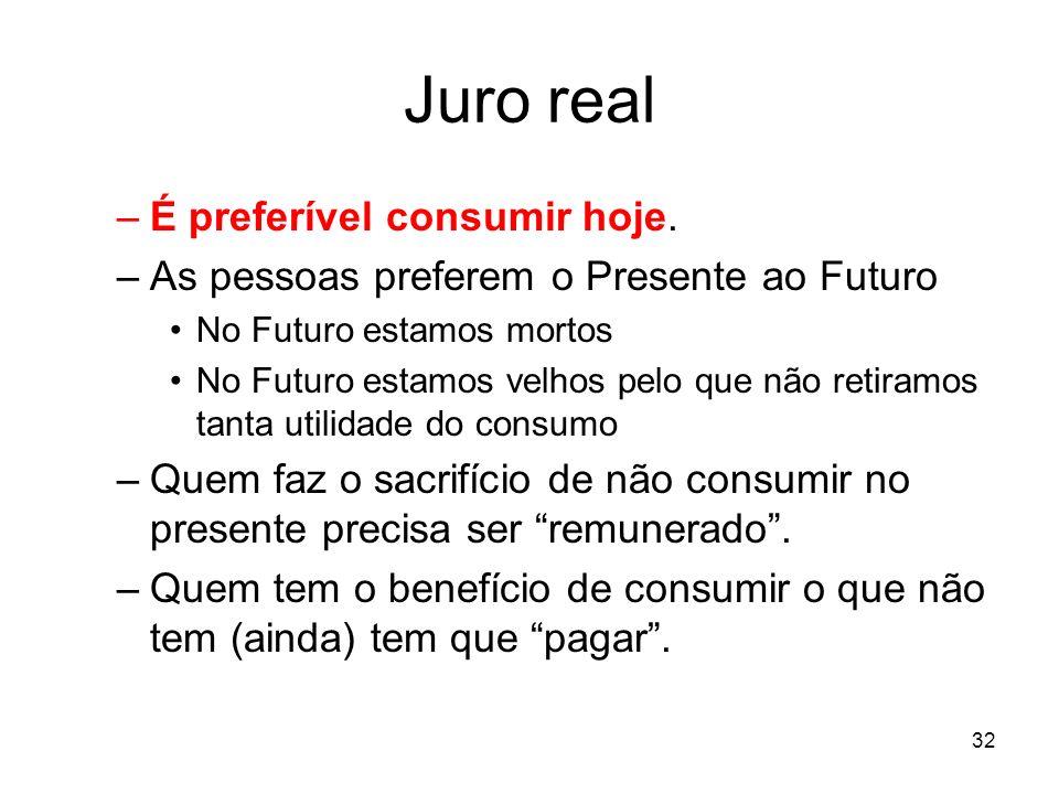 32 Juro real –É preferível consumir hoje. –As pessoas preferem o Presente ao Futuro No Futuro estamos mortos No Futuro estamos velhos pelo que não ret