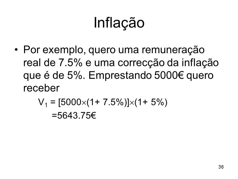 36 Inflação Por exemplo, quero uma remuneração real de 7.5% e uma correcção da inflação que é de 5%. Emprestando 5000 quero receber V 1 = [5000 (1+ 7.