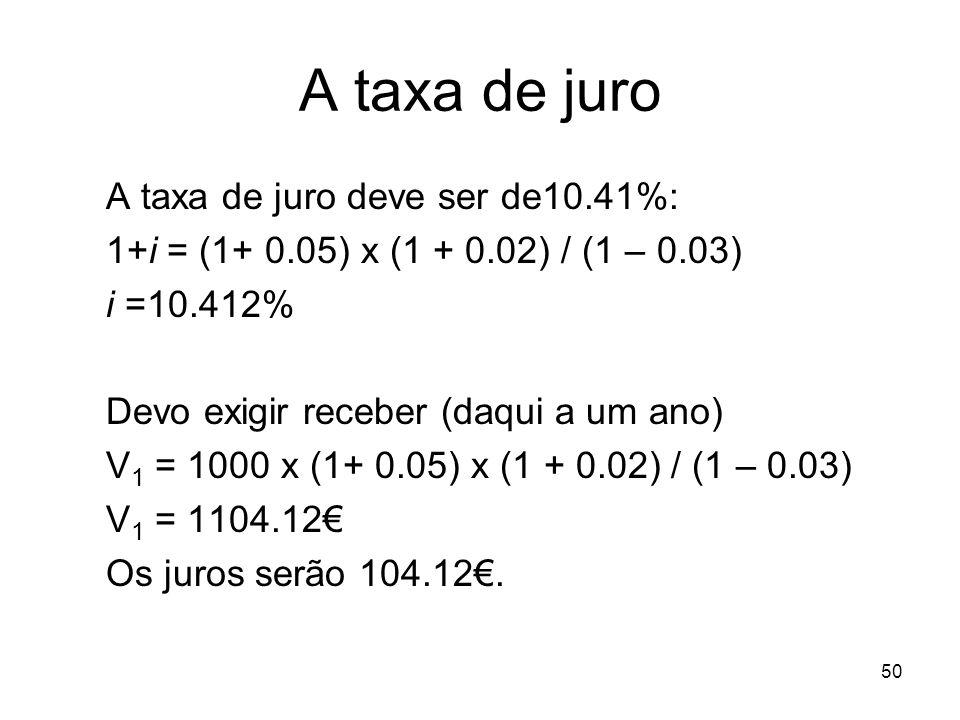 50 A taxa de juro A taxa de juro deve ser de10.41%: 1+i = (1+ 0.05) x (1 + 0.02) / (1 – 0.03) i =10.412% Devo exigir receber (daqui a um ano) V 1 = 10