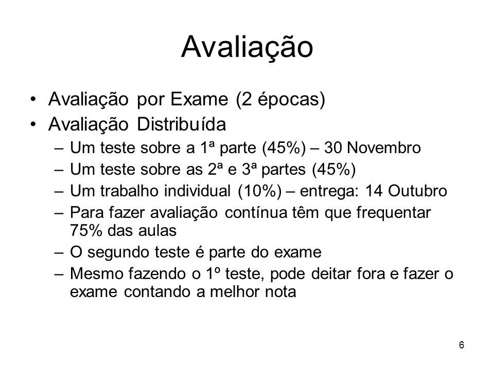 6 Avaliação Avaliação por Exame (2 épocas) Avaliação Distribuída –Um teste sobre a 1ª parte (45%) – 30 Novembro –Um teste sobre as 2ª e 3ª partes (45%