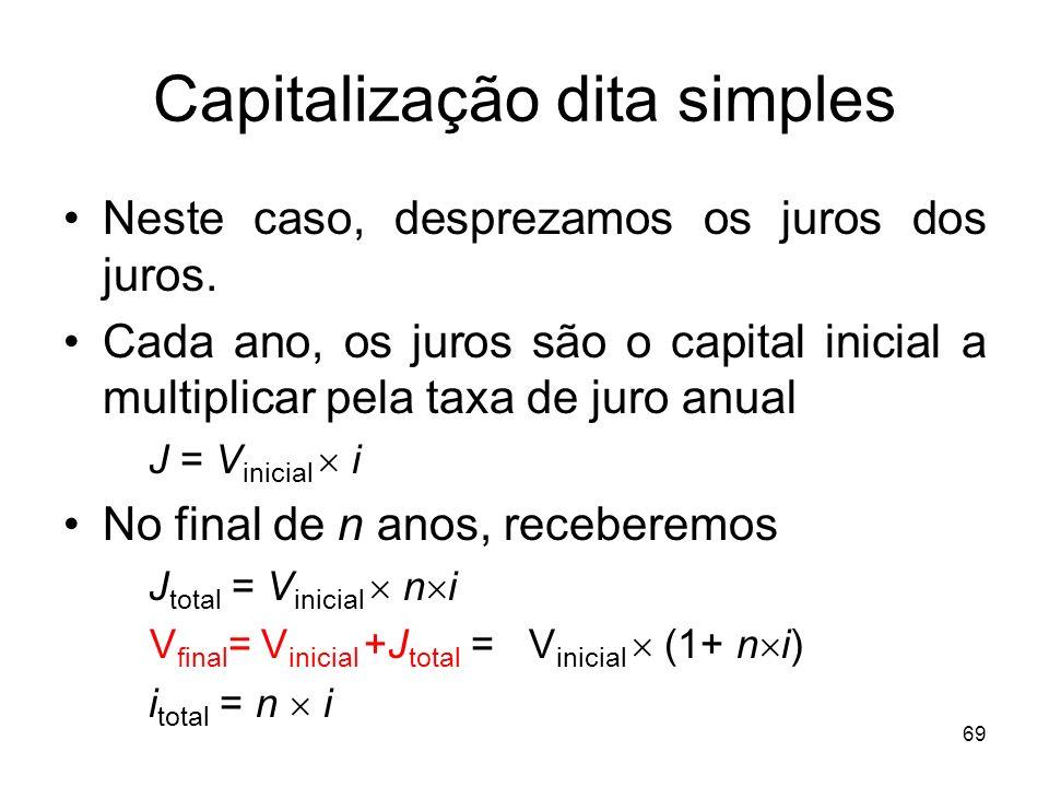69 Capitalização dita simples Neste caso, desprezamos os juros dos juros. Cada ano, os juros são o capital inicial a multiplicar pela taxa de juro anu