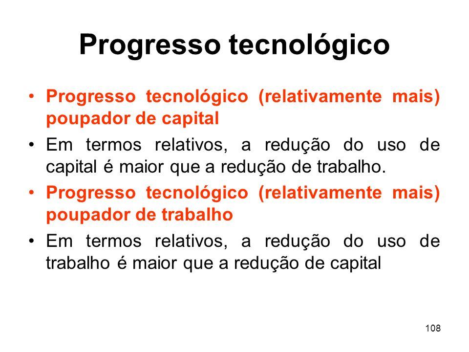 108 Progresso tecnológico Progresso tecnológico (relativamente mais) poupador de capital Em termos relativos, a redução do uso de capital é maior que