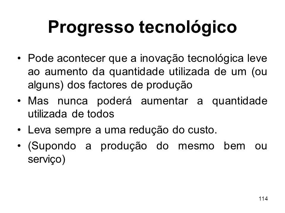 114 Progresso tecnológico Pode acontecer que a inovação tecnológica leve ao aumento da quantidade utilizada de um (ou alguns) dos factores de produção