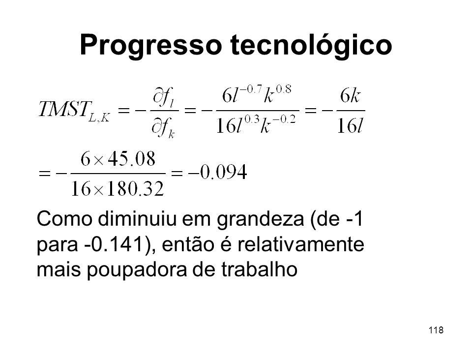 118 Progresso tecnológico Como diminuiu em grandeza (de -1 para -0.141), então é relativamente mais poupadora de trabalho