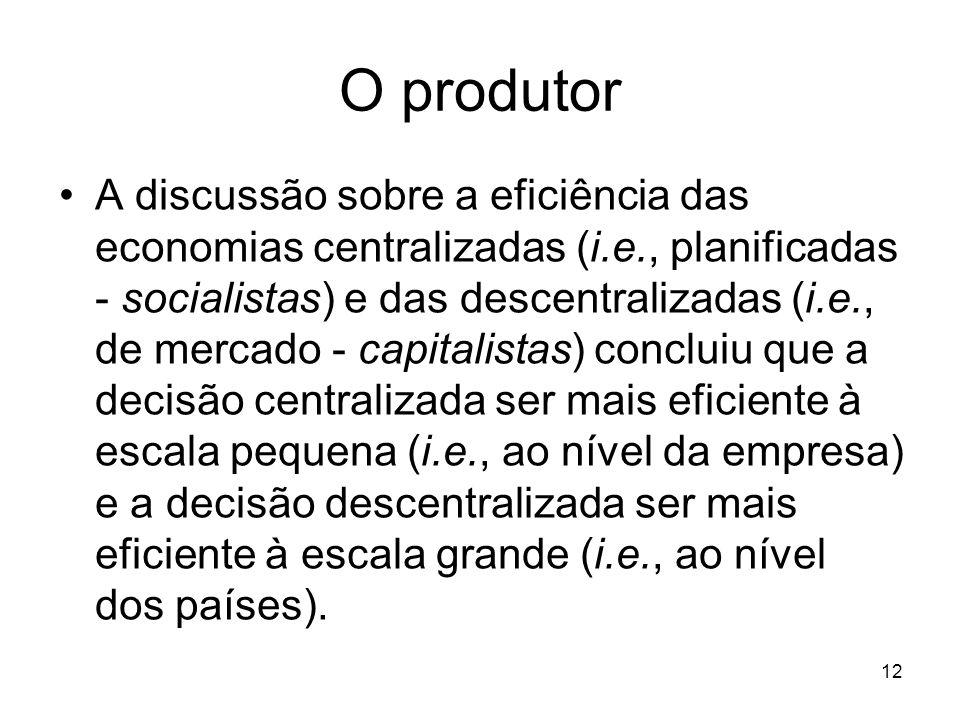 12 O produtor A discussão sobre a eficiência das economias centralizadas (i.e., planificadas - socialistas) e das descentralizadas (i.e., de mercado -