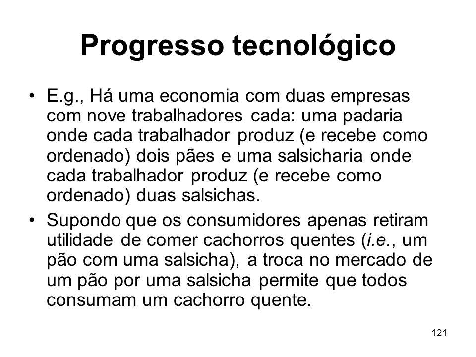 121 Progresso tecnológico E.g., Há uma economia com duas empresas com nove trabalhadores cada: uma padaria onde cada trabalhador produz (e recebe como