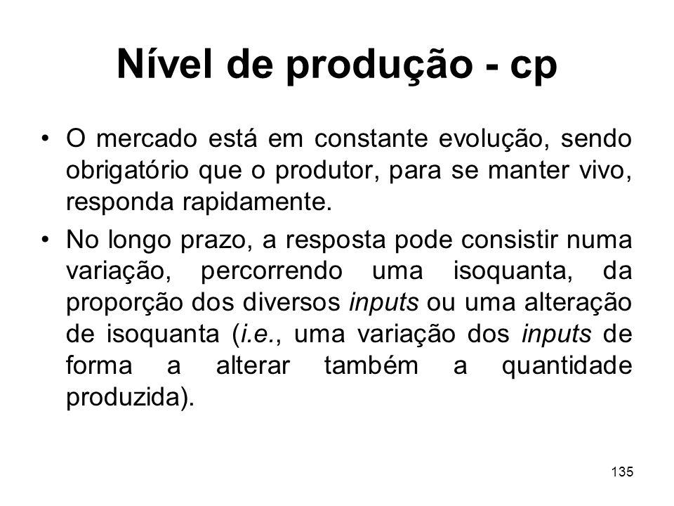 135 Nível de produção - cp O mercado está em constante evolução, sendo obrigatório que o produtor, para se manter vivo, responda rapidamente. No longo