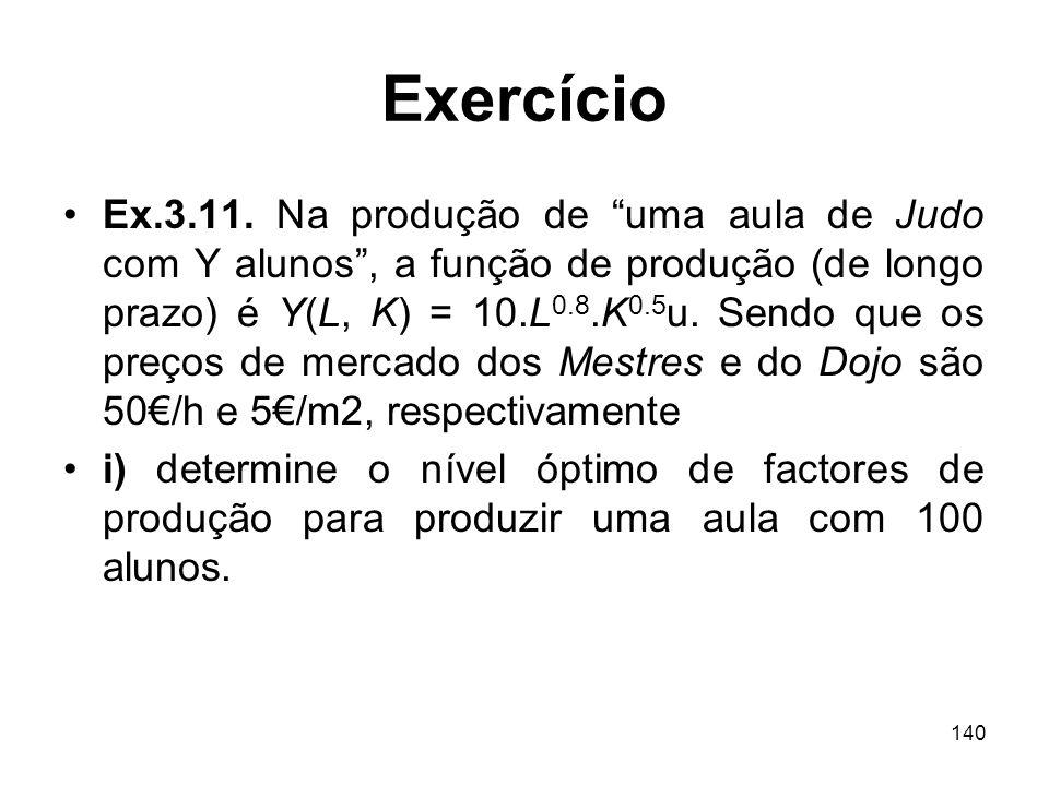 140 Exercício Ex.3.11. Na produção de uma aula de Judo com Y alunos, a função de produção (de longo prazo) é Y(L, K) = 10.L 0.8.K 0.5 u. Sendo que os