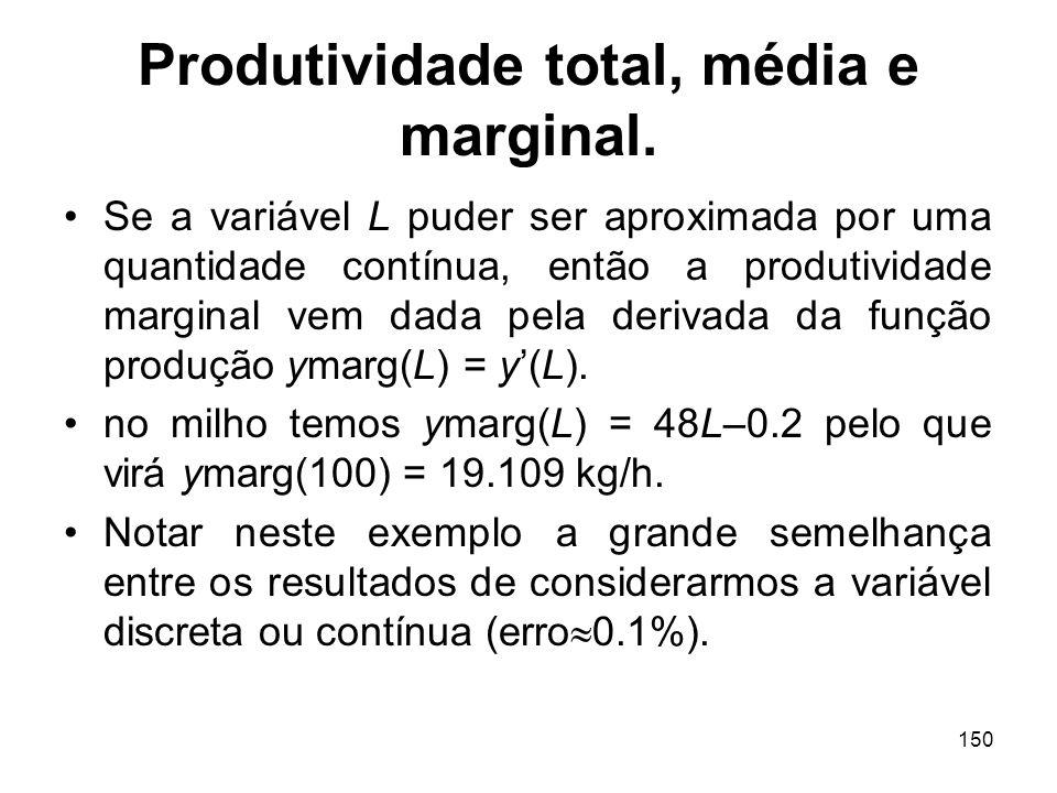 150 Produtividade total, média e marginal. Se a variável L puder ser aproximada por uma quantidade contínua, então a produtividade marginal vem dada p