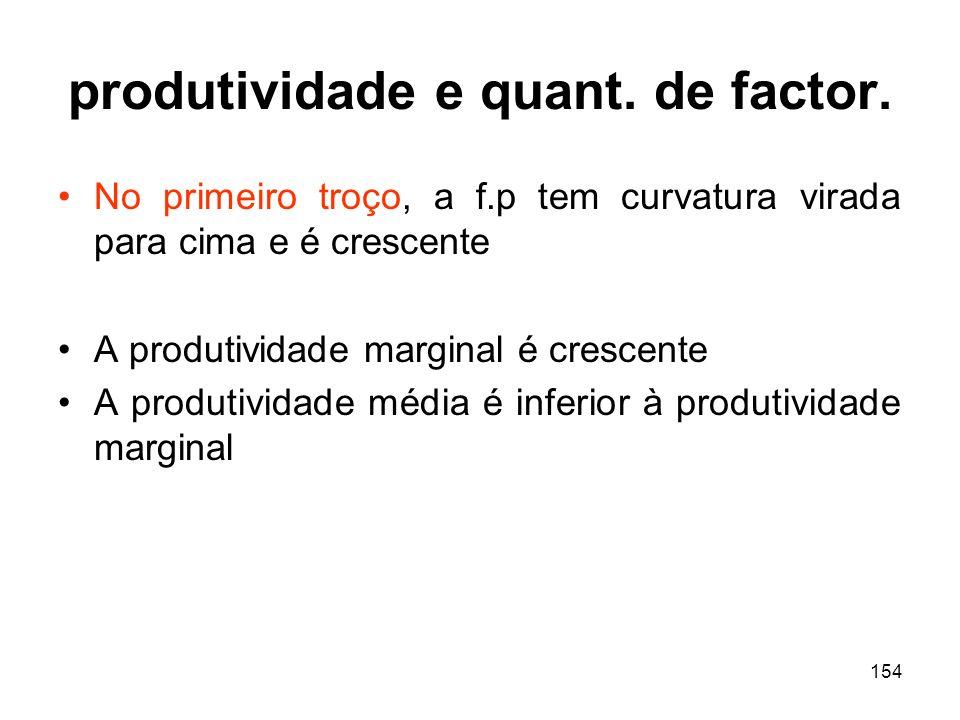 154 produtividade e quant. de factor. No primeiro troço, a f.p tem curvatura virada para cima e é crescente A produtividade marginal é crescente A pro