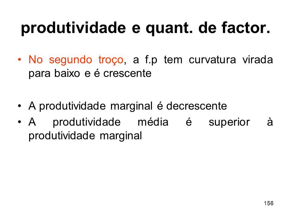 156 produtividade e quant. de factor. No segundo troço, a f.p tem curvatura virada para baixo e é crescente A produtividade marginal é decrescente A p