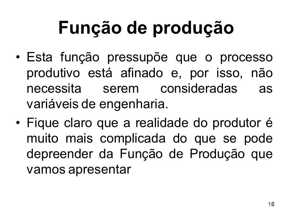 16 Função de produção Esta função pressupõe que o processo produtivo está afinado e, por isso, não necessita serem consideradas as variáveis de engenh