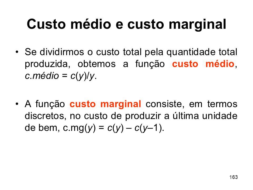 163 Custo médio e custo marginal Se dividirmos o custo total pela quantidade total produzida, obtemos a função custo médio, c.médio = c(y)/y. A função