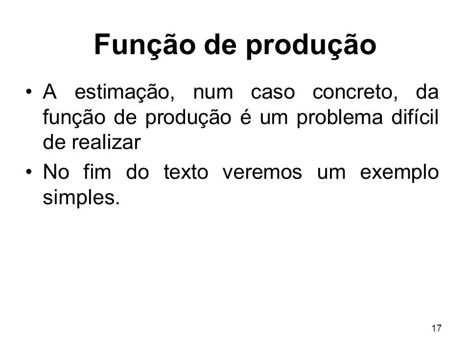 17 Função de produção A estimação, num caso concreto, da função de produção é um problema difícil de realizar No fim do texto veremos um exemplo simpl