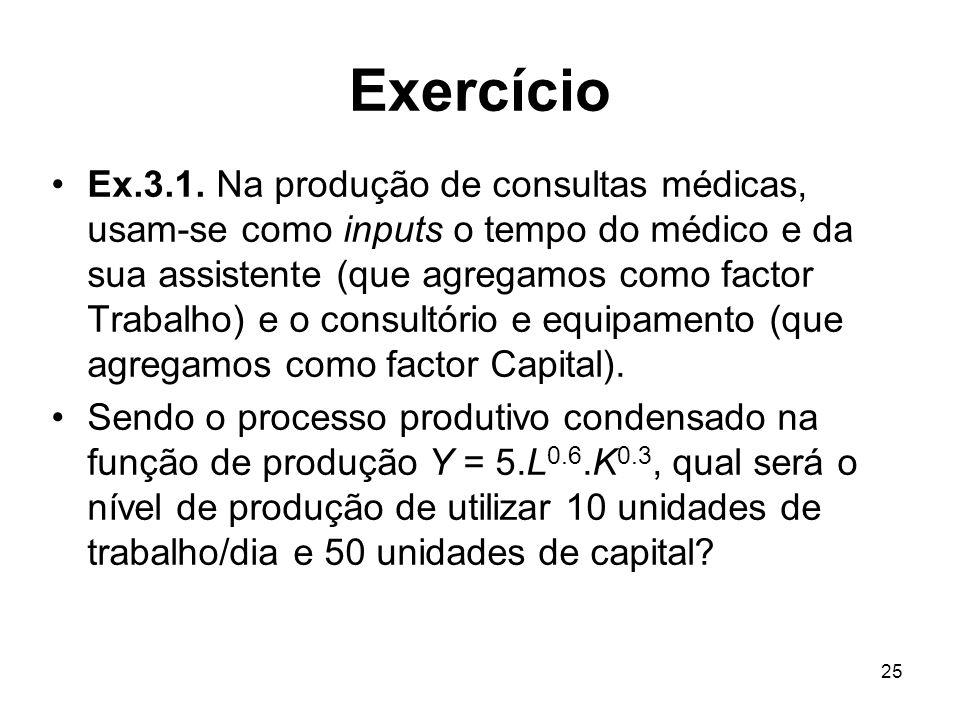 25 Exercício Ex.3.1. Na produção de consultas médicas, usam-se como inputs o tempo do médico e da sua assistente (que agregamos como factor Trabalho)