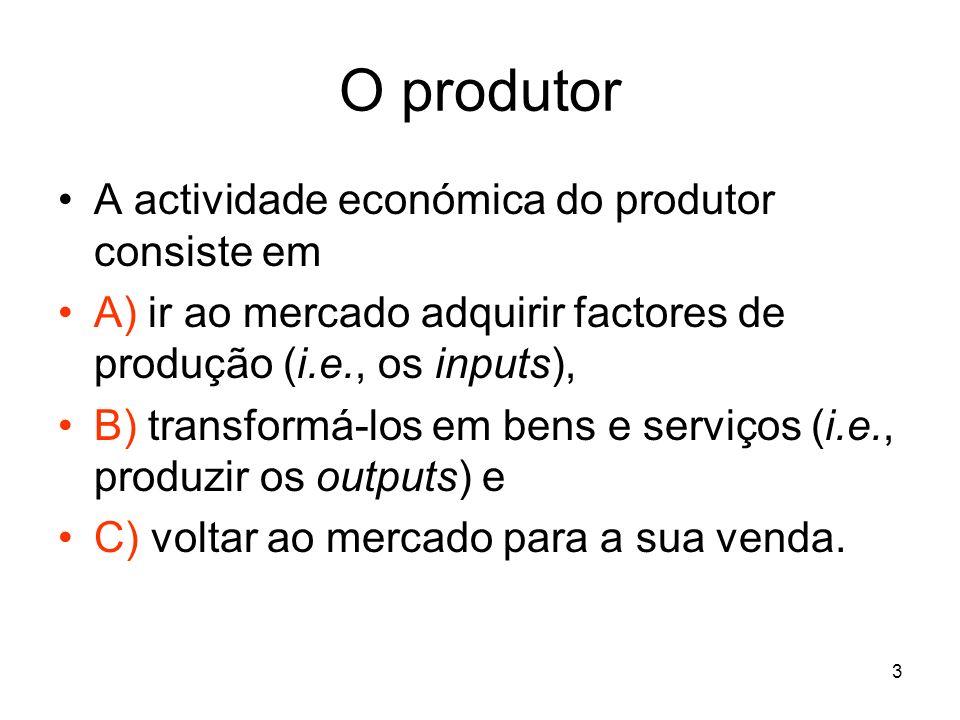 3 A actividade económica do produtor consiste em A) ir ao mercado adquirir factores de produção (i.e., os inputs), B) transformá-los em bens e serviço