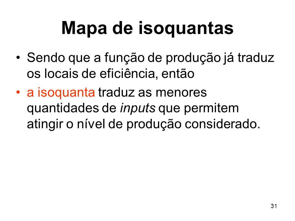 31 Mapa de isoquantas Sendo que a função de produção já traduz os locais de eficiência, então a isoquanta traduz as menores quantidades de inputs que