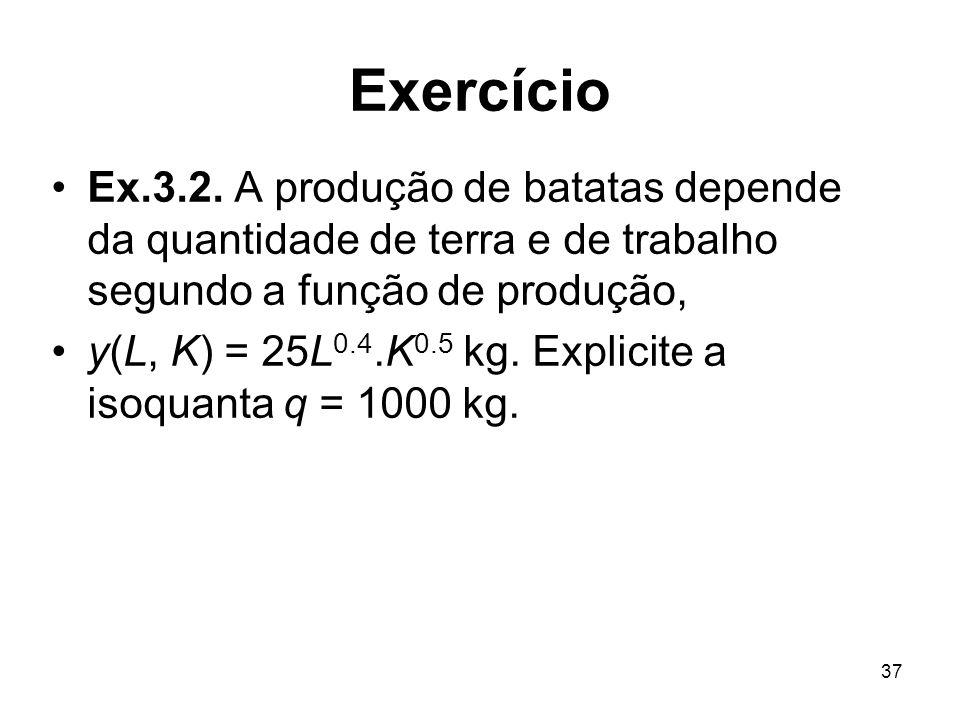 37 Exercício Ex.3.2. A produção de batatas depende da quantidade de terra e de trabalho segundo a função de produção, y(L, K) = 25L 0.4.K 0.5 kg. Expl