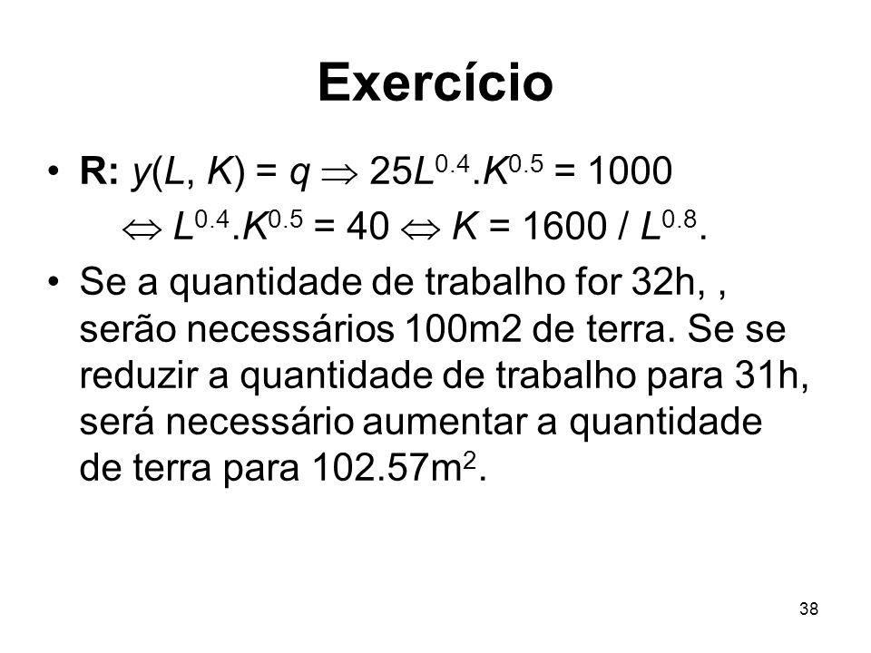 38 Exercício R: y(L, K) = q 25L 0.4.K 0.5 = 1000 L 0.4.K 0.5 = 40 K = 1600 / L 0.8. Se a quantidade de trabalho for 32h,, serão necessários 100m2 de t