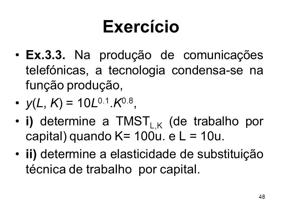 48 Exercício Ex.3.3. Na produção de comunicações telefónicas, a tecnologia condensa-se na função produção, y(L, K) = 10L 0.1.K 0.8, i) determine a TMS