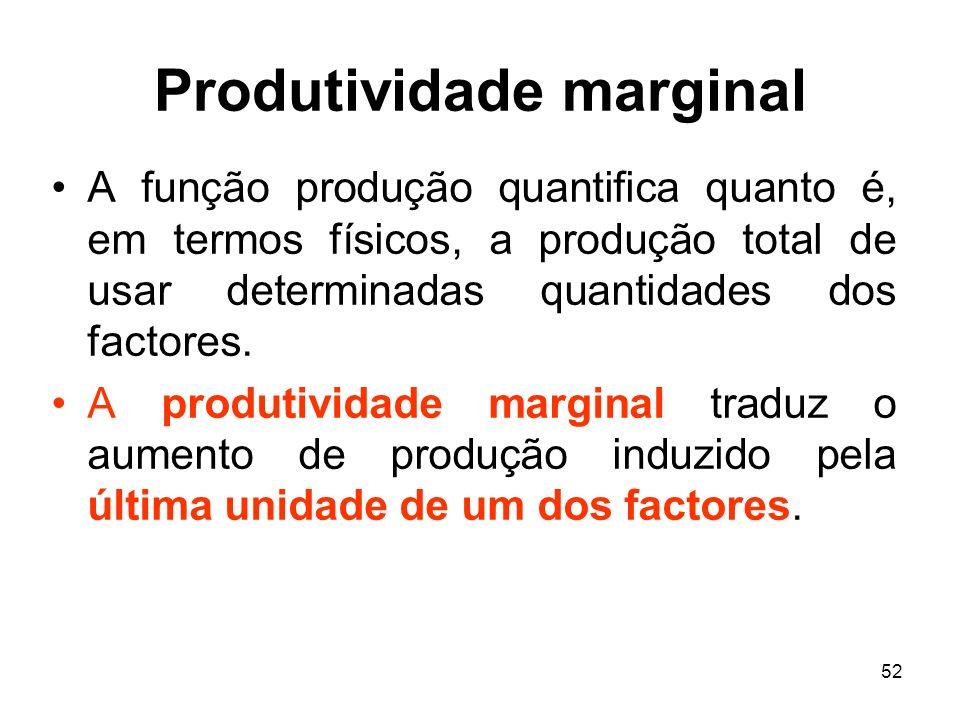 52 Produtividade marginal A função produção quantifica quanto é, em termos físicos, a produção total de usar determinadas quantidades dos factores. A