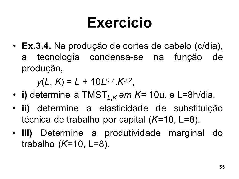 55 Exercício Ex.3.4. Na produção de cortes de cabelo (c/dia), a tecnologia condensa-se na função de produção, y(L, K) = L + 10L 0.7.K 0.2, i) determin