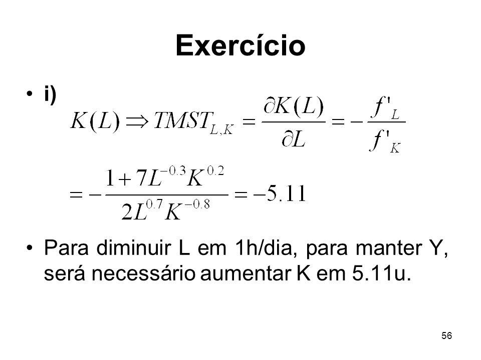 56 Exercício i) Para diminuir L em 1h/dia, para manter Y, será necessário aumentar K em 5.11u.