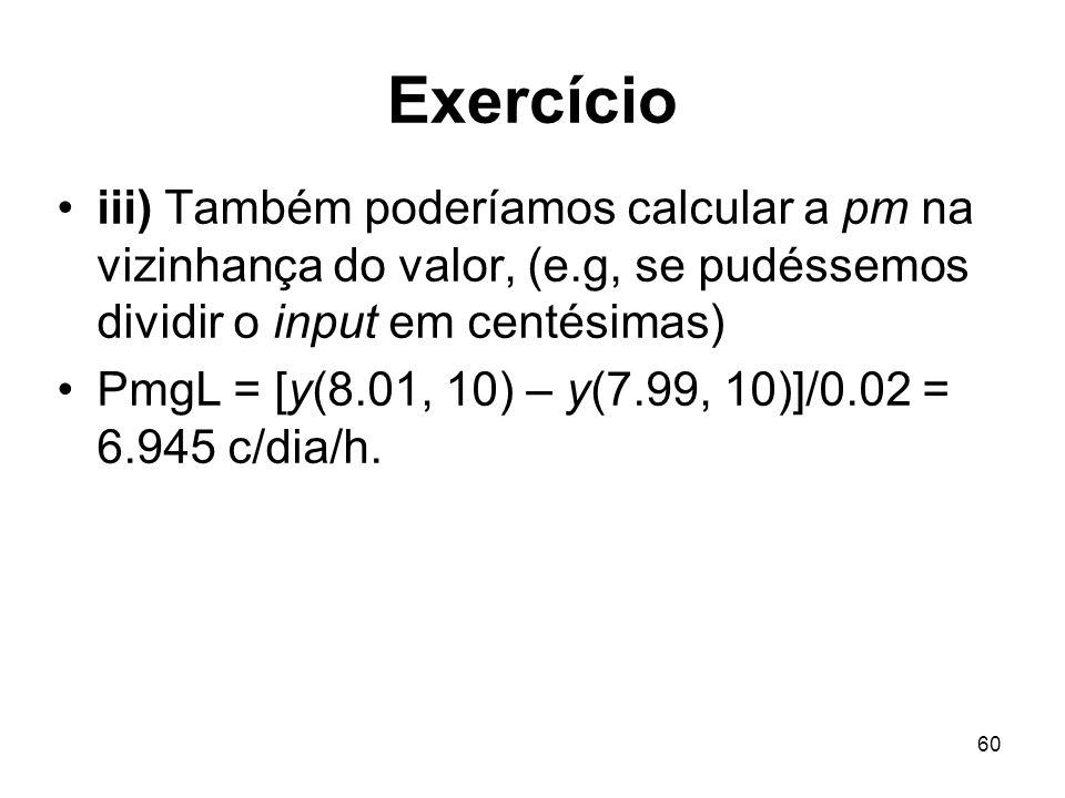 60 Exercício iii) Também poderíamos calcular a pm na vizinhança do valor, (e.g, se pudéssemos dividir o input em centésimas) PmgL = [y(8.01, 10) – y(7