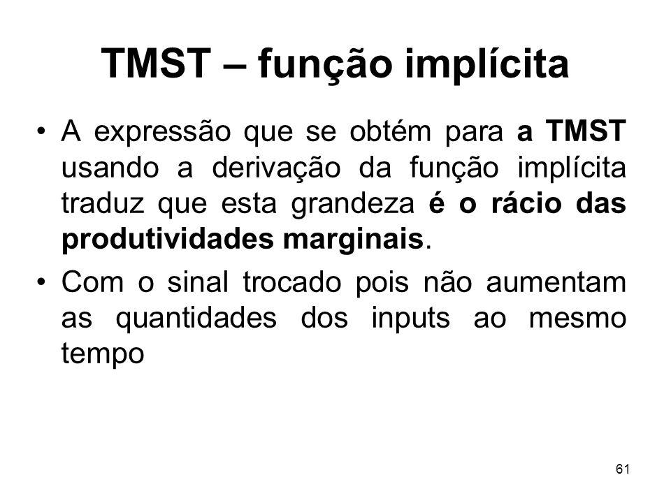 61 TMST – função implícita A expressão que se obtém para a TMST usando a derivação da função implícita traduz que esta grandeza é o rácio das produtiv
