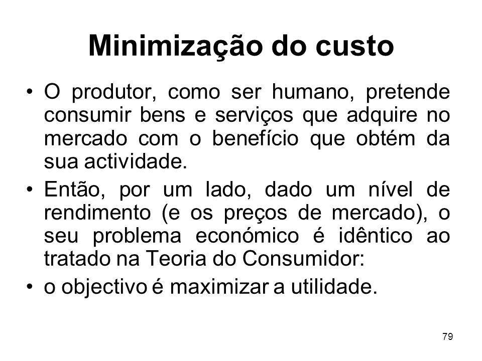 79 Minimização do custo O produtor, como ser humano, pretende consumir bens e serviços que adquire no mercado com o benefício que obtém da sua activid