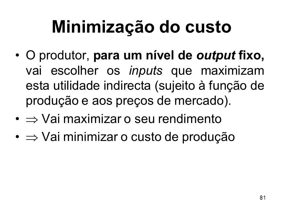 81 Minimização do custo O produtor, para um nível de output fixo, vai escolher os inputs que maximizam esta utilidade indirecta (sujeito à função de p
