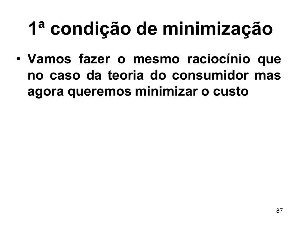 87 1ª condição de minimização Vamos fazer o mesmo raciocínio que no caso da teoria do consumidor mas agora queremos minimizar o custo
