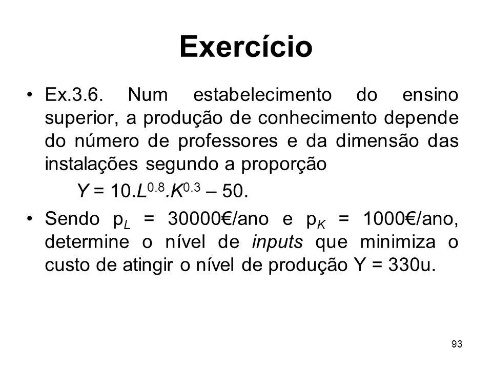 93 Exercício Ex.3.6. Num estabelecimento do ensino superior, a produção de conhecimento depende do número de professores e da dimensão das instalações