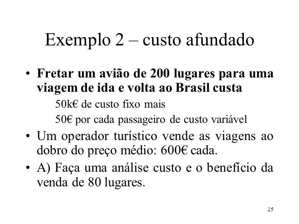 26 Exemplo 2 O benefício marginal de vender os lugares é superior ao custo marginal.