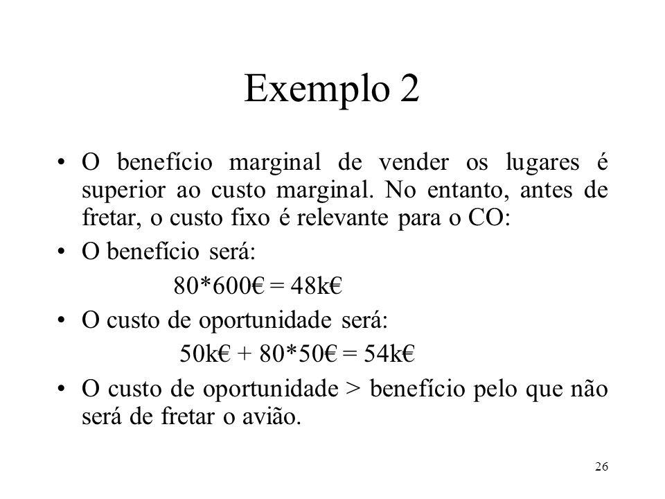 27 Exemplo 2 B) Supondo que a agência já pagou os custos fixos (50k) que não pode recuperar.