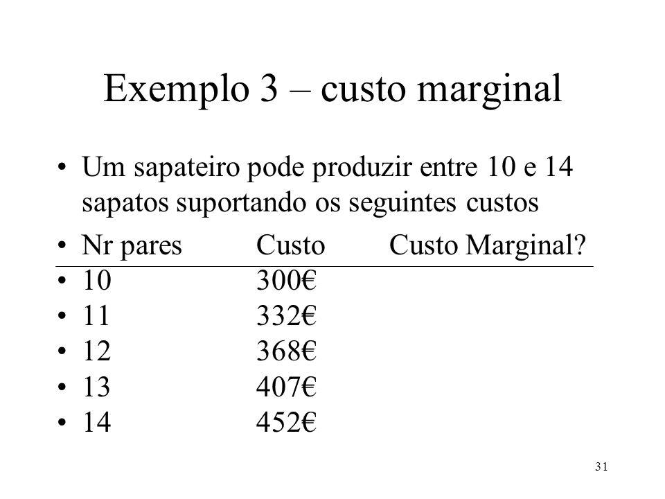 32 Exemplo 3 Um sapateiro pode produzir entre 10 e 14 sapatos suportando os seguintes custos Nr paresCusto Marginal 10/1132 11/1236 12/1339 13/1445