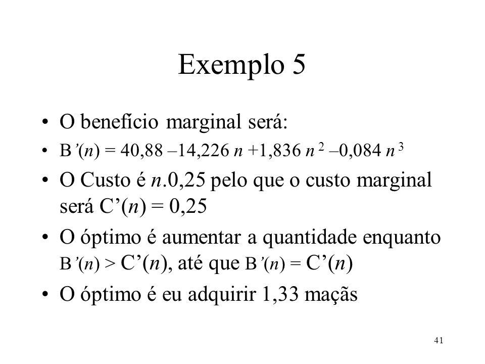 42 Exemplo 5 Em termos formais, a maximização do excedente económico resulta na quantidade d em que o benefício marginal é igual ao preço p: