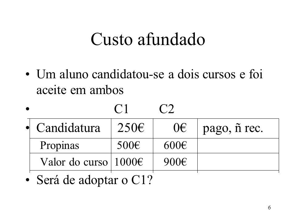 7 Custo afundado O benefício do C1 é 1000 A questão está no custo de oportunidade.