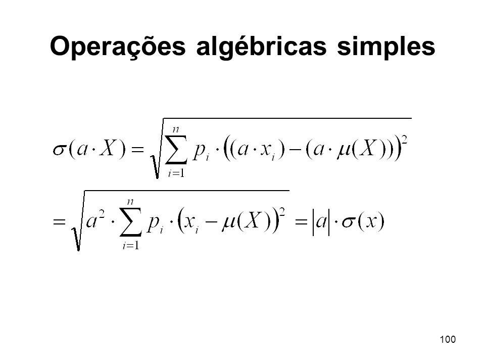 100 Operações algébricas simples