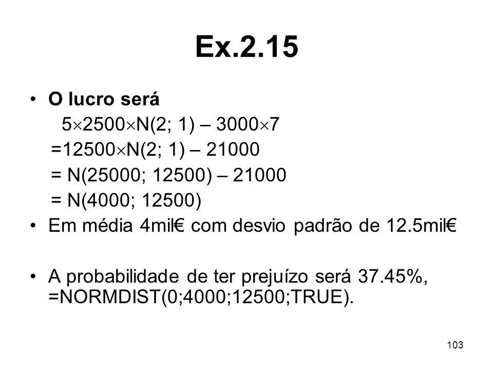 103 Ex.2.15 O lucro será 5 2500 N(2; 1) – 3000 7 =12500 N(2; 1) – 21000 = N(25000; 12500) – 21000 = N(4000; 12500) Em média 4mil com desvio padrão de 12.5mil A probabilidade de ter prejuízo será 37.45%, =NORMDIST(0;4000;12500;TRUE).